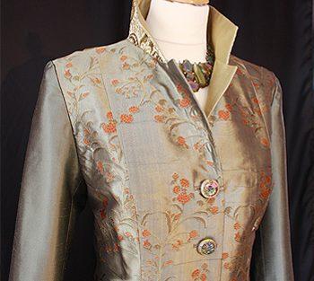Green / Gold Silk Brocade Coat