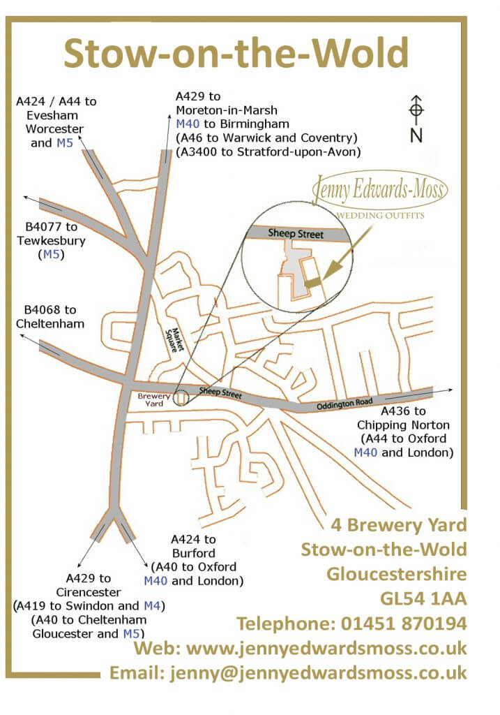Directions to Jenny Edwards-Moss. Stow-on-the-Wold Gloucestershire