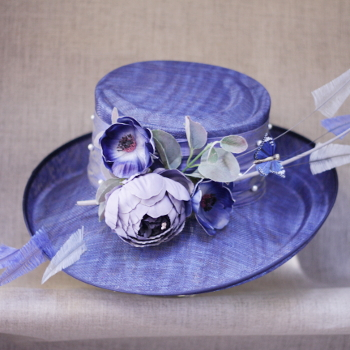 Blue Lilac Wedding Hat by Jenny Edwards-Moss, Stow-on-the-Wold